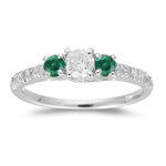 1/2 Cts Diamond & 0.15 Cts AA Natural Emerald Ring in 18K White Gold
