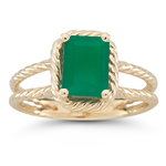 1.50 Ct 8x6 mm AA Emerald Natural Emerald Solitaire Ring in 14KY Gold