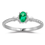 0.27 Cts of 5x3 mm Oval AAA Natural Emerald Solitaire Ring in 18K White Gold