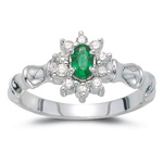 0.22 Cts Diamond & 0.16 Cts Natural Emerald Ring in 14K White Gold