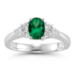 0.22 Cts Diamond & 0.34 Cts Natural Emerald Ring in 14K White Gold