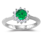 0.25 Cts Diamond & 0.40 Cts of 5 mm AAA Round Natural Emerald Cluster Ring in Platinum