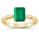 0.40 Cts of 6x4 mm AAA Emerald Cut Natural Emerald Scroll Ring in 18K Yellow Gold