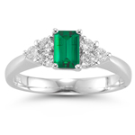 0.50 Cts Diamond & 0.40 Cts of 6x4 mm AAA Emerald Cut Natural Emerald Ring in Platinum