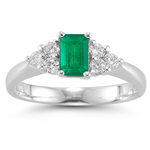 0.50 Cts Diamond & 0.70 Cts of 7x5 mm AA Emerald Cut Natural Emerald Ring in Platinum