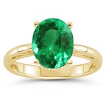 0.40-0.47 Cts of 6x4 mm AAA Oval Natural Emerald Scroll Ring in 18K Yellow Gold