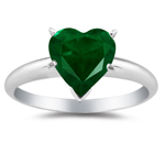 0.20 Cts of 4 mm AA Heart Natural Emerald Solitaire Ring in 14K White Gold
