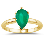 0.60 Cts of 7x5 mm AA Pear Natural Emerald Solitaire Ring in 18K Yellow Gold