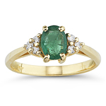 0.09 Cts Diamond & 0.75 Cts Natural Emerald Ring in 14K Yellow Gold