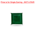 0.85 Cts of 5.5 mm AA Square Step Cut Natural Emerald Mens Stud Earring in 14K White Gold
