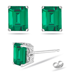 0.86-1.07 Cts of 6x4 mm AAA Emerald Lab Created Emerald Scroll Stud Earrings in 14K White Gold
