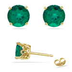 0.81-0.95 Cts of 5 mm AAA Round Lab Created Emerald Scroll Stud Earrings in 14K Yellow Gold