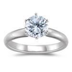 1.00 Carat Platinum Six Prong Diamond Engagement Ring