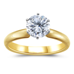 1 Carat 18K Yellow Gold Six Prong Diamond Engagement Ring (G-SI1)