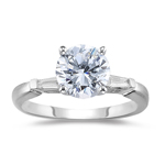 0.85 Cts Diamond Engagement Ring in 18K White Gold.