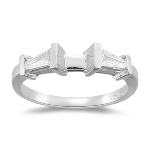 Platinum Ring Engagement Ring Setting w/ Baguette Diamonds - 0.27 Cts