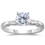 3/4 Ct Ideal Cut Four Prong Diamond Engagement Ring (H/VS2) w/ 1/10 Ct Sidestone