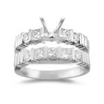 0.95 Ct Diamond Engagement Ring Setting & Wedding Band -18K White Gold