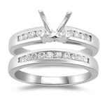 0.35 Ct Diamond Engagement Ring Setting & Wedding Band -18K White Gold