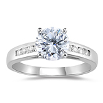0.90 Cts Diamond Cathedral Engagement Ring in 18K White Gold.