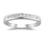 0.15-0.20 Cts SI1-SI2 I-J Round Diamond Wedding Band Channel Set in 18K White Gold