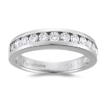 0.55-0.60 Cts  SI2 - I1 clarity and I-J color Round Diamond Wedding Band in 18K White Gold - Christmas Sale