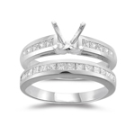 0.90 Cts Diamond Engagement Ring & Wedding Band in Platinum