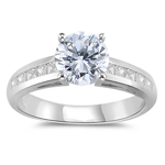 1.20 Cts Diamond Engagement Ring 18K White Gold.