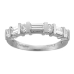 0.60 Cts Baguette & Round VS Diamond Wedding Band in 18K White Gold