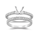 0.52 Cts Diamond Engagement Ring Setting & Wedding Band in Platinum