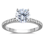 1.25 Cts Round Pave Diamond Engagement Ring in 18K White Gold