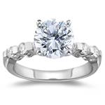 3/4 Ct Ideal Cut Four Prong Diamond Engagement Ring (H/VS2) w/ 1/3 Ct Sidestones