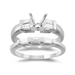 0.45 Ct Diamond Engagement Ring Setting & Wedding Band -18K White Gold