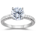 3/4 Ct Ideal Cut Four Prong Diamond Engagement Ring (H/VS2) w/ 0.15 Ct Setting