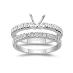 0.31 Ct Diamond Engagement Ring Setting & Wedding Band-18K White Gold