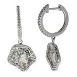 0.38-0.48 Cts Diamond & 2.06-2.26 Cts Light Grey Slice Diamond Earrings in 14K White Gold