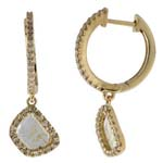 0.35-0.45 Cts Diamond & 0.43-0.63 Cts Light Grey Slice Diamond Earrings in 14K Yellow Gold
