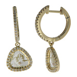 0.40-0.50 Cts Diamond & 1.62-1.82 Cts Light Grey Slice Diamond Earrings in 14K Yellow Gold