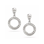 Royal Pave Circle Earrings in 14K White Gold