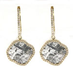 0.39-0.49 Cts Diamond & 3.35-3.55 Cts Light Grey Slice Diamond Earrings in 14K Yellow Gold