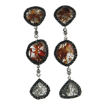 0.04-0.09 Cts Diamond & 0.83-0.93 Cts Black Diamond & 5.78-5.98 Cts Medium Brown & Light Grey Slice Diamond Earrings in 14K White Gold