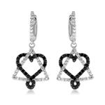 0.60 Cts Black & White Diamond Heart Dangle Earrings in 14K White Gold