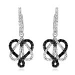 0.85 Cts Black & White Diamond Heart Dangle Earrings in 14K White Gold