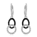 0.55 Cts Black & White Diamond Oval-Circle Geometric Dangle Earrings in 14K White Gold