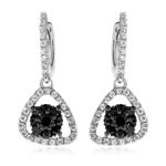0.70 Cts Black & White Diamond Dangle Earrings in 14K White Gold