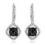 3/4 Cts Black & White Diamond Dangle Earrings in 14K White Gold