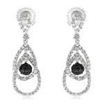 1.10 Cts Black & White Diamond Dangle Earrings in 14K White Gold