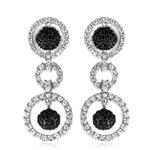 1.15 Cts Black & White Diamond Trio-Circle Dangle Earrings in 14K White Gold