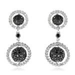 1.40 Cts Black & White Diamond Dangle Earrings in 14K White Gold