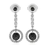 1.15 Cts Black & White Diamond Circle Drop Dangle Earrings in 14K White Gold